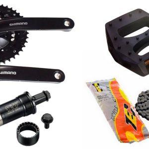 Kit Pedivela Shimano 48D TY301 + Caixa de Centro 122,5MM + Corrente Index TEC C50 + Pedal 9/16 Nylon Plataforma