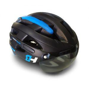 Capacete Ciclismo High One Preto/azul Viseira Fumê G 58-61cm