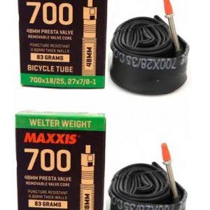 Par Camara Maxxis 700×18/25 27×7/8-1 Válv Presta (fina) 48mm